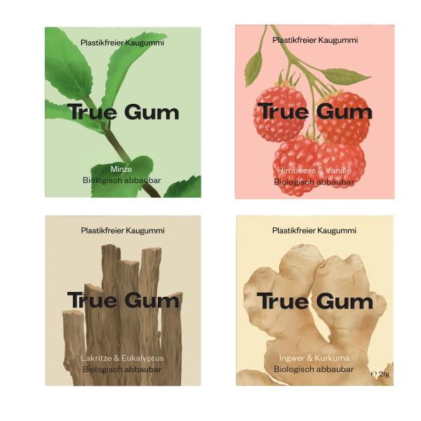 True Gum - Plastikfreie Kaugummi - Probierset -4 Sorten-100% Biologisch abbaubar