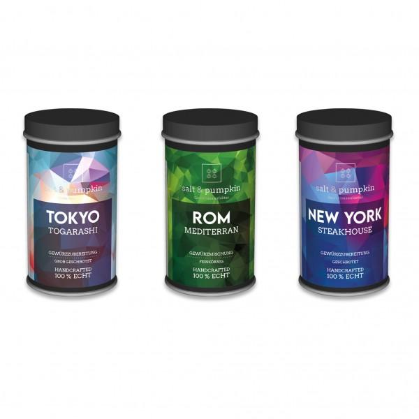 salt & pumpkin PROBIERSET 130g, TOKIO – TOGARASHI | ROM – MEDITERRANE | NEW YORK – STEAKHOUSE