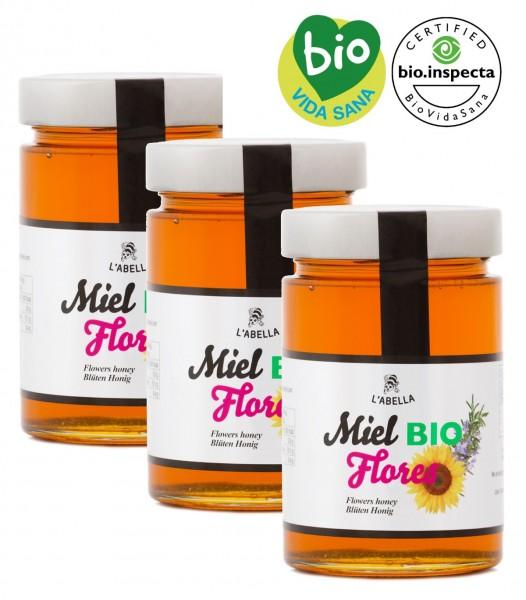 BIO Blütenhonig aus Spanien - Premium Qualität - reines Naturprodukt - kaltgeschleudert - 3 x 900 g