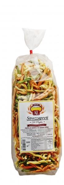 Frische Strozzapreti Tricolor (Priesterwürger) Nudeln Italien 500g - Strozzapreti – trafila in bronzo