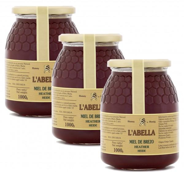 Heidehonig aus Spanien - Premium Qualität - reines Naturprodukt - kaltgeschleudert - 3 x 1 Kg Glas