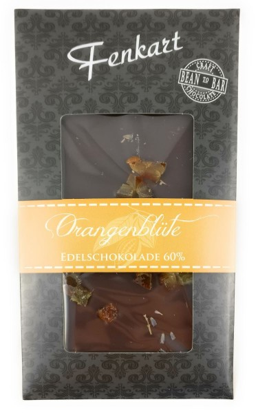 Orangenblüten Schokolade 1x 100g - Fenkart Schokoladengenuss - Vollmilch Edelvollmichschokolade 60%