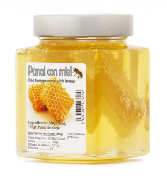 Spanischer Wabenhonig mit Bienenwabe - besonderes Geschmackserlebnis in Premiumqualität - 450 g Glas