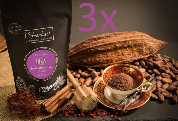 Trinkschokolade 3x Zimt & Kardamom 200g | Inka Kakao Natur aus kräftigem Edelkakao aus Ecuador