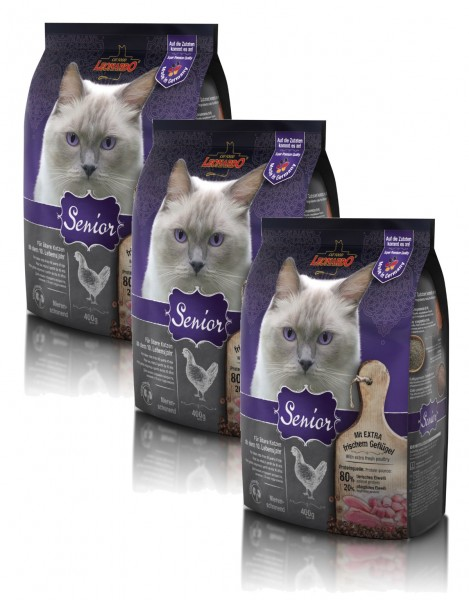 Katzen Trockenfutter - 3x Senior mit Geflügel &Reis 400g - Leonardo Katzenfutter - leichtverdaulich