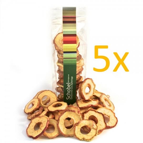 Getrocknete Elstar-Apfelringe 5x 90g - getrocknete Apfelringe - Vitaminreich - goldgelbe - Apfelring