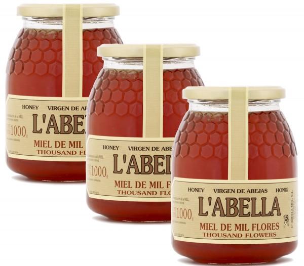 Blütenhonig aus Spanien - Premium Qualität - reines Naturprodukt - kaltgeschleudert - 3 x 1 Kg Glas