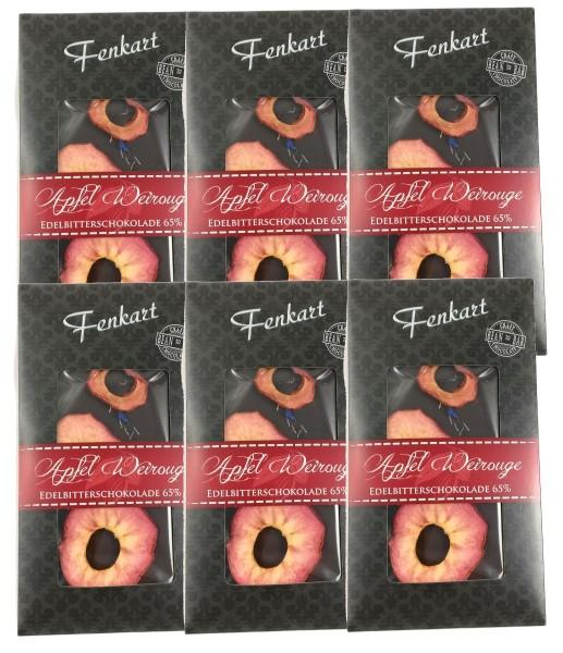 Apfel Weirouge Schokolade 6x 100g - Fenkart Schokoladengenuss - Vollmilch Edelvollmichschokolade 65%