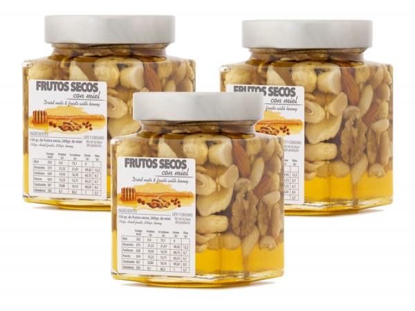 In spanischen Honig eingelegte Nussmischung - einzigartiges Produkt mit tollem Geschmack - 3 x 450 g