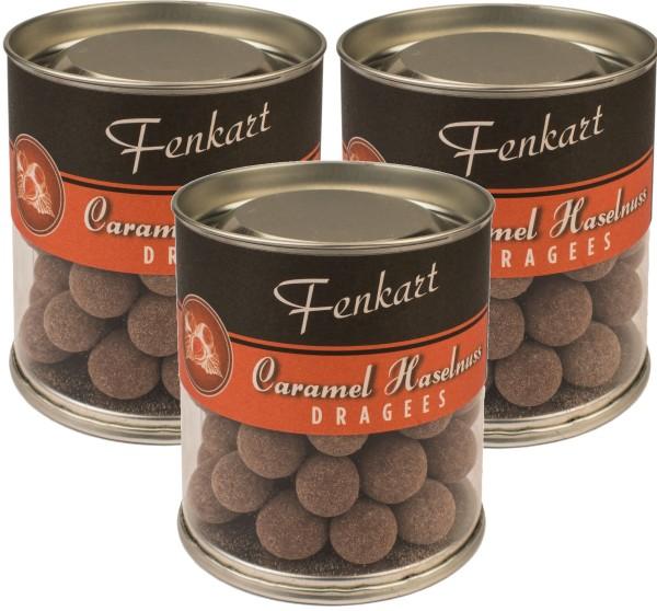 Caramel Nüsse 3x 120g - Fenkart Schokoladengenuss - Schokoladen-Dragees Edelvollmichschokolade 43%