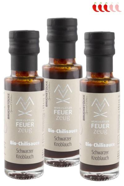 Bio-Chilisauce SCHWARZER KNOBLAUCH - Schärfegrad 3/5 - Chili sauce, scharfe Grillsauce, Chili Soße
