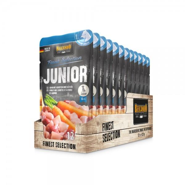 Belcando Frischebeutel [12x125g Junior Huhn mit Karotten  Nassfutter für Hunde   Feuchtfutter Alleinfutter im Einzelportionsbeutel