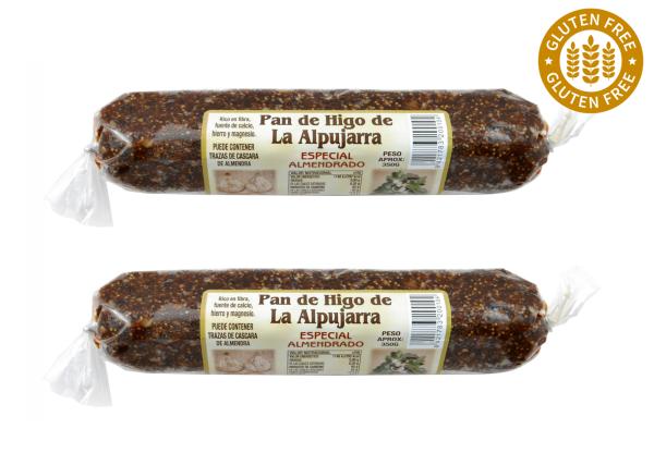Original spanisches Feigenbrot mit Mandeln- 100 % natürlich- Vegan - lang - 2 x 350 g