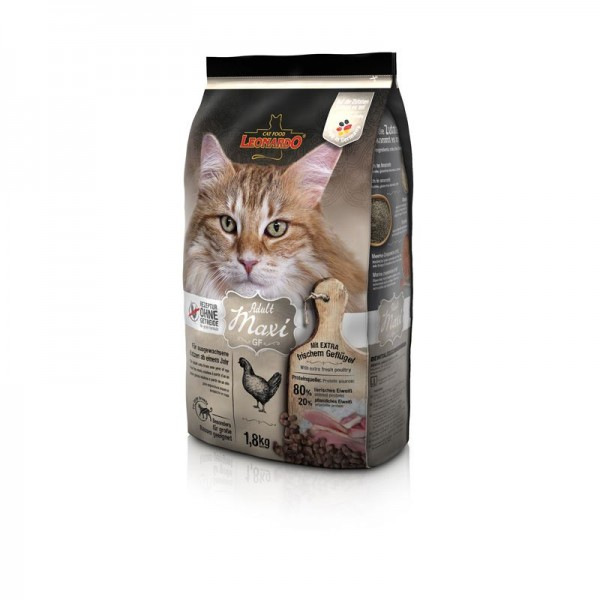 Katzen Trockenfutter - Adult GF Maxi mit Geflügel 1,8 Kg - Getreidefrei - Leonardo Katzenfutter