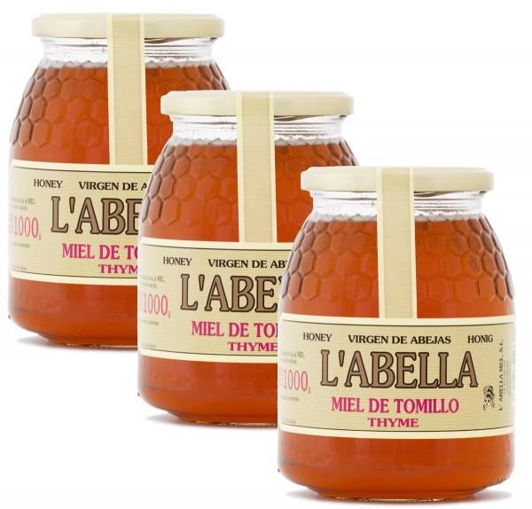 Thymianhonig aus Spanien - Premium Qualität - reines Naturprodukt - kaltgeschleudert - 3 x 1 Kg Glas