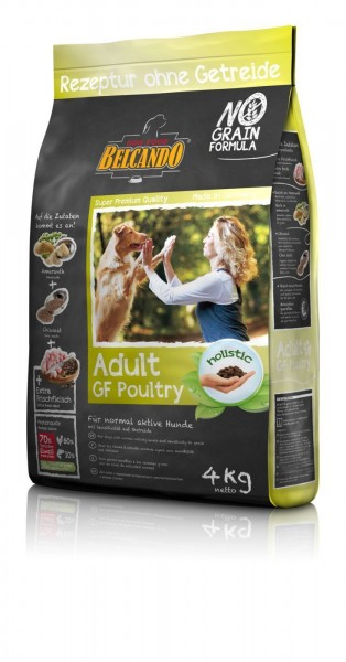 Hunde Trockenfutter - Adult Poultry mit Geflügel 4kg - Getreidefrei Belcando Hundefutter