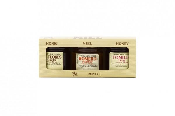 3 Honigsorten aus Spanien im Mini Probierset - beste Qualität - reines Naturprodukt - 3 x 40 g