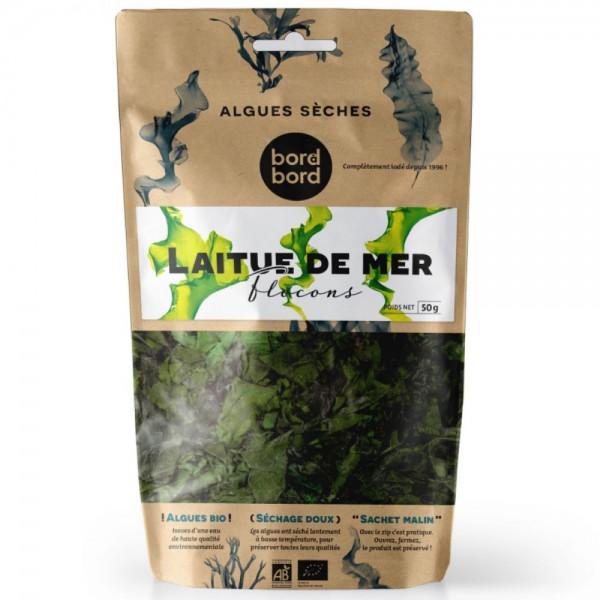 Bord à bord BIO Meersalat Alge 50g aus Frankreich/Bretagne/Atlantik | Meersalat Algen (Ulva sp.) | Getrocknete Algen | Laborgeprüft für Smoothies oder als Trocken-Gemüse