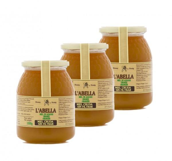 RAW Orangenblütenhonig aus Spanien - 3x 1Kg Ungefilterte Orangenhonig - Premium Qualität - Naturprodukt
