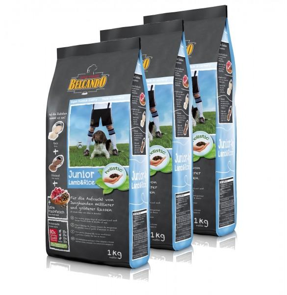 Hunde Trockenfutter - 3x Junior Lamb mit Lamm und Reis 1kg - Belcando Hundefutter - leichtverdaulich