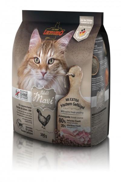 Katzen Trockenfutter - Adult GF Maxi mit Geflügel 300g - Getreidefrei - Leonardo Katzenfutter