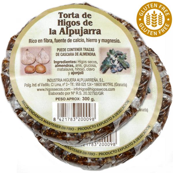 Original spanisches Feigenbrot mit Mandeln- 100 % natürlich- Vegan - rund - 2 x 300 g