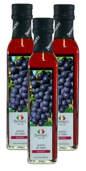 Rotweinessig - Rotwein Essig aus Italien - TrentinAcetia - 3x250 ml - Aceto di vino rosso