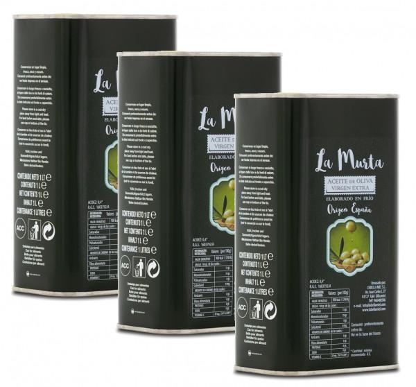 Extra Natives Olivenöl aus Spanien - höchste Qualität - reines Naturprodukt - kaltgepresst - 3 x 1 L