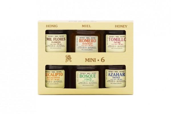 6 Honigsorten aus Spanien im Mini Probierset - beste Qualität - reines Naturprodukt - 6 x 40 g