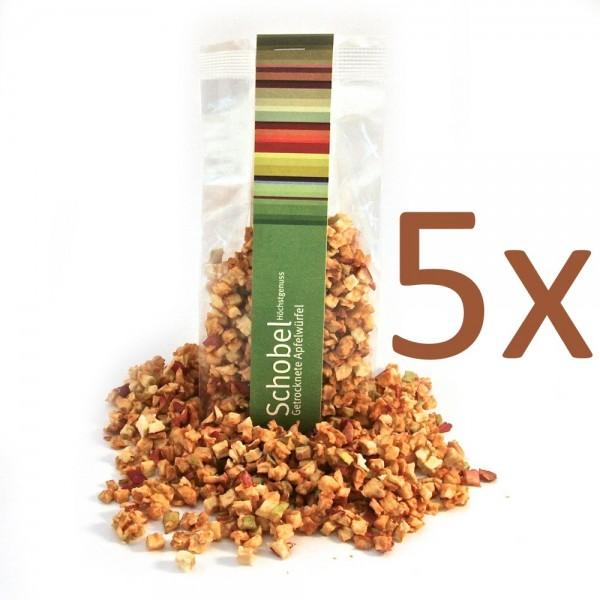 Getrocknete Apfelwürfel 5x 90g - getrockneter Apfel - Vitaminreich - goldgelb - Snack für Gourmets