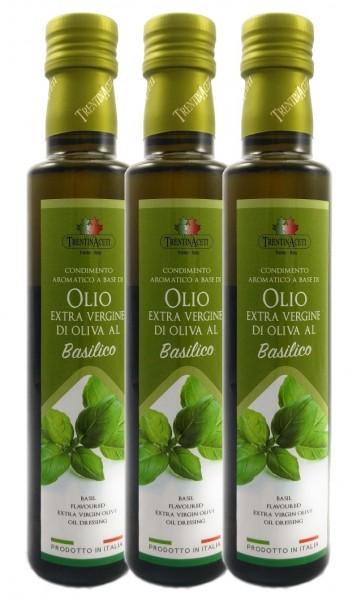 Extra Natives Olivenöl mit natürlichen Basilikumaroma aus Italien - 3x250 ml