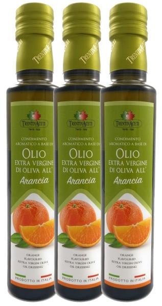 Extra Natives Olivenöl mit natürlichen Orangenaroma aus Italien - 3x250 ml