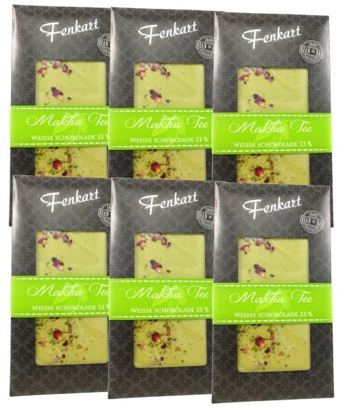 Matcha Tee Schokolade 6x 100g - Fenkart Schokoladengenuss - Edelvollmichschokolade 33%