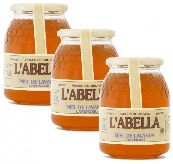 Lavendelhonig aus Spanien - Premium Qualität - reines Naturprodukt - kaltgeschleudert- 3 x 1 Kg Glas