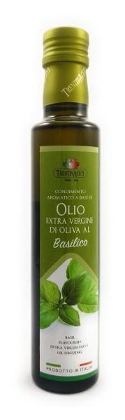 Extra Natives Olivenöl mit natürlichen Basilikumaroma aus Italien - höchste Qualität - 250 ml