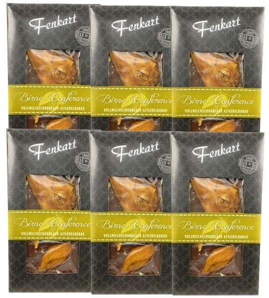 Birne Conference Schokolade 6x 100g - Fenkart Schokoladengenuss - Vollmilch Edelvollmichschokolade 43%