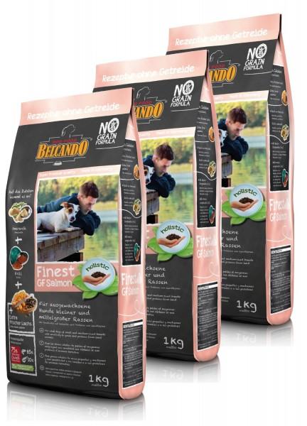 Hunde Trockenfutter - 3x Adult GF Salmon mit Lachs 1kg - Belcando Hundefutter - getreidefrei