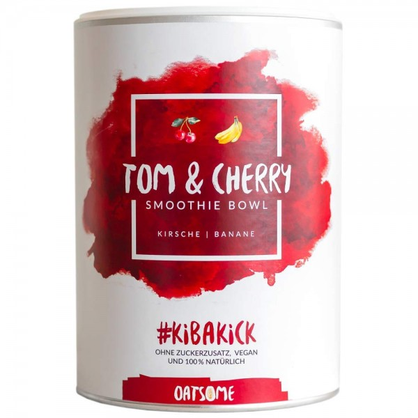 Oatsome - Tom & Cherry - Smoothie Bowl - Nährstoff Frühstück mit 100% natürlichen Zutaten & ohne Zusatzstoffe und raffinierten Zucker - Lange satt mit nur 200 kcal - 400g