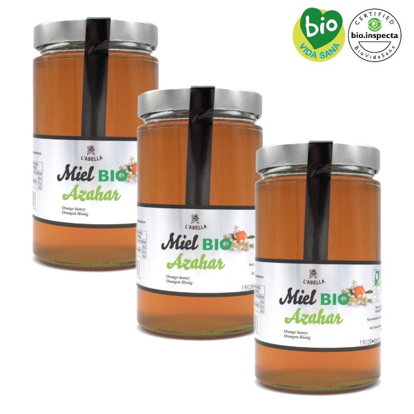BIO Orangenblütenhonig aus Spanien - Orangenhonig - Premium Qualität - Naturprodukt- 3 x 900 g