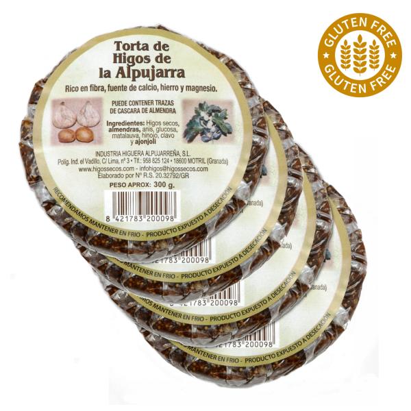 Original spanisches Feigenbrot mit Mandeln- 100 % natürlich- Glutenfrei und Vegan - rund - 4 x 300 g