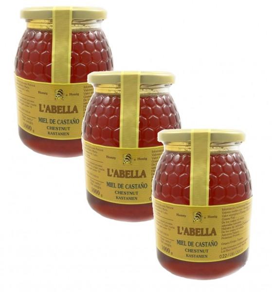 Edelkastanienhonig aus Spanien - beste Qualität - reines Naturprodukt - kaltgeschleudert - 3x 1kg Glas