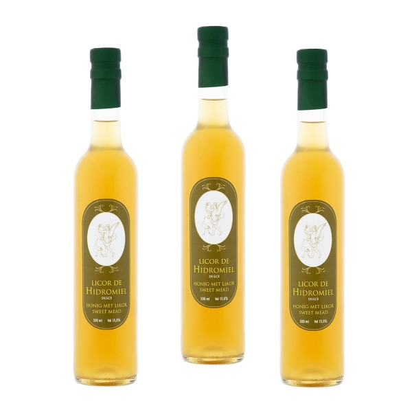 Blütenhonig Met - Honig Likör aus Spanien - Premium Qualität - 3 x 500 ml