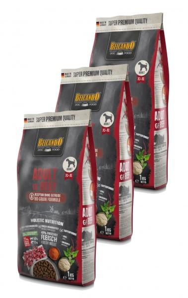 Belcando Adult GF Beef getreidefreies Hundefutter   Trockenfutter ohne Getreide 3x 1 kg