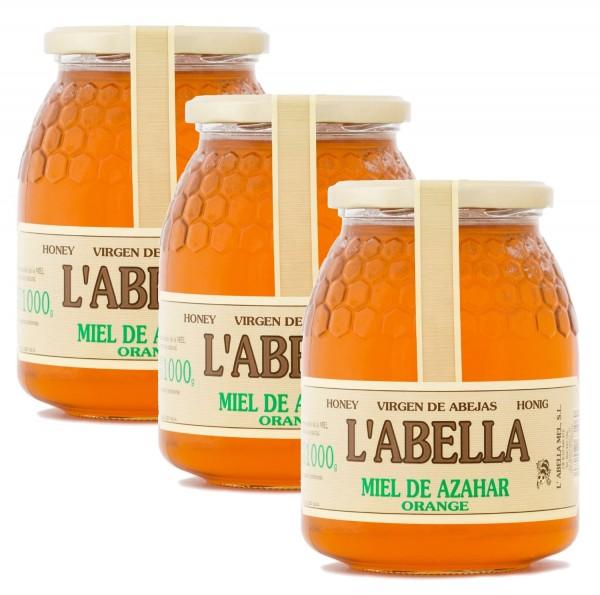 Orangenblütenhonig aus Spanien - Orangenhonig - Premium Qualität - Naturprodukt - 3 x 1 Kg Glas