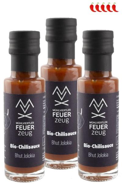 Bio-Chilisauce 3x BHUT JOLOKIA - Schärfegrad 5/5 - Chili sauce, scharfe Grillsauce, Chili Soße