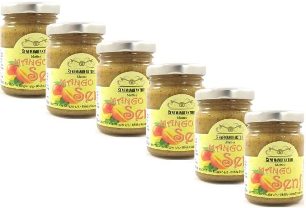 Feinster Mango Senf von der Senf Manufaktur 6x 90 ml - Süßer Senf original aus Deutschland