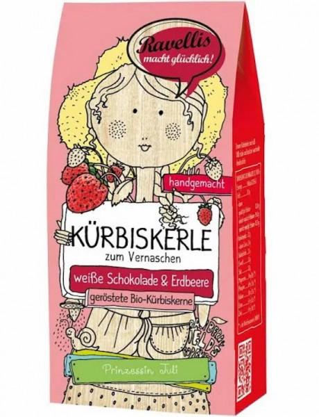 Ravellis Kürbiskerne in weißer Schokolade mit Erdbeere (80 g) - Bio