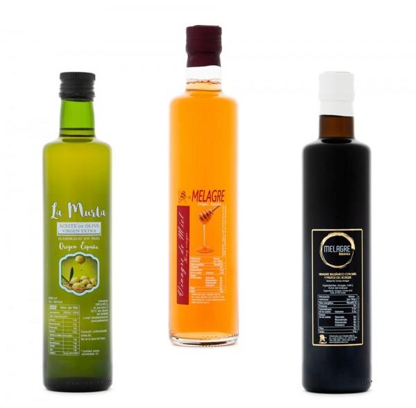 Essig und Öl Set aus Spanien - beste Qualität - reines Naturprodukt - 3 x 500 ml - 1,5 L