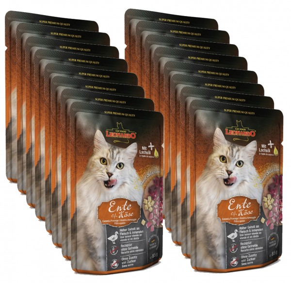 Leonardo Ente + Käse, 16x85g Nassfutter für Katzen im Frischebeutel
