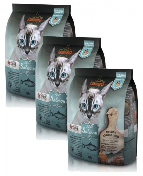Katzen Trockenfutter - 3x Adult GF Salmon mit Lachs 300g - Getreidefrei - Leonardo Katzenfutter